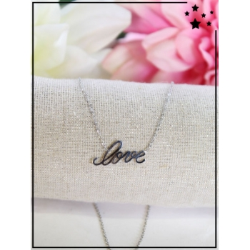 Collier fin - Love - Argenté