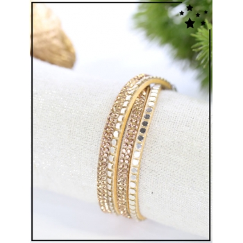 Bracelet double tour - Strass - Doré