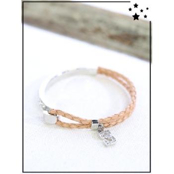 Bracelet - Tressé et strass - Lettre S - Camel