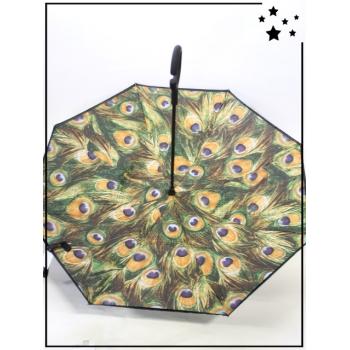 Parapluie inversé - Plumes de paon - Fauve