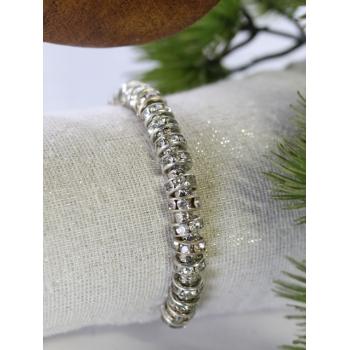 Bracelet - Strass et métal - Blanc