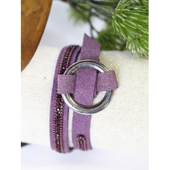 Bracelet double tour - Boucle et strass - Violet