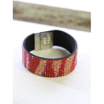 Bracelet strass - Irisé - Rouge