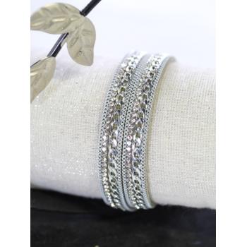 Bracelet double tour - Strass et chaînettes - Argenté