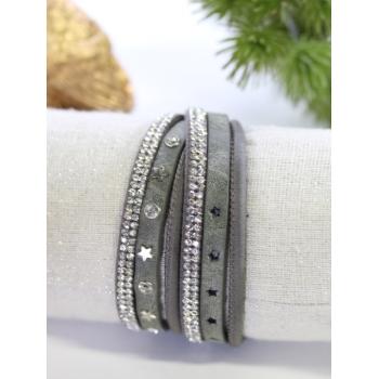 Bracelet double tour - Strass et étoiles - Gris