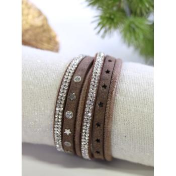 Bracelet double tour - Strass et étoiles - Choco
