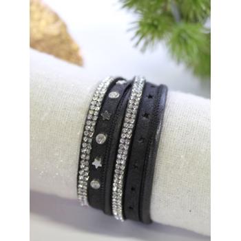 Bracelet double tour - Strass et étoiles - Noir