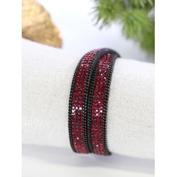 Bracelet double tour - Strass - Rouge et noir