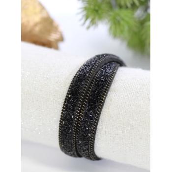Bracelet double tour - Strass - Noir