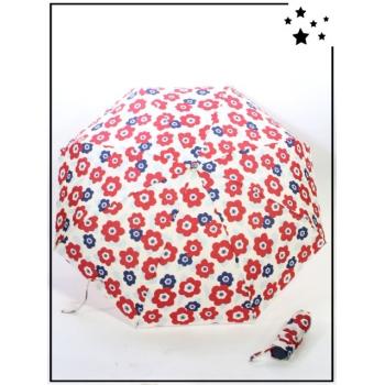 Parapluie compact pliable - Fleurs - Blanc, rouge et bleu