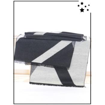 Echarpe homme - Lignes géométriques - Noir et blanc
