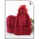 Bonnet pompon - Doublé polaire - Torsades - Rouge - M417