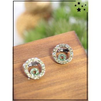 Petites barrettes - Petit cercle - Strass - Vert