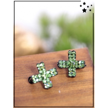 Petites barrettes - Croix - Strass - Vert