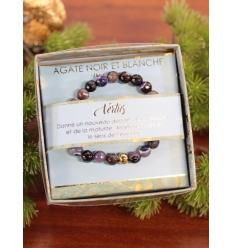 Bracelet vertus - Pierres naturelles - Agate noire et blanche