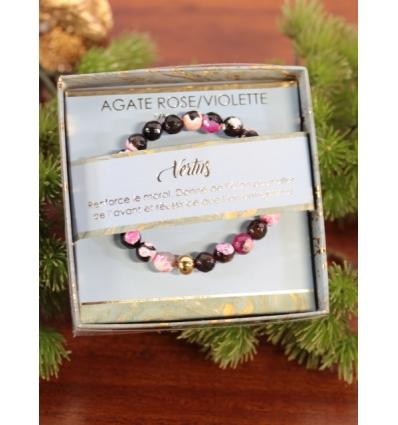 Bracelet vertus - Pierres naturelles - Agate rose et violette