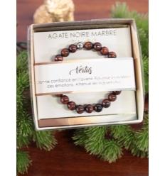 Bracelet vertus - Pierres naturelles - Agate noire marbrée