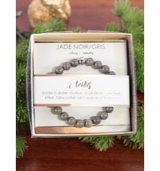 Bracelet vertus - Pierres naturelles - Jade noir et gris