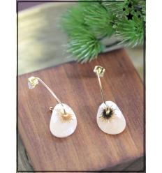 Boucles d'oreilles - Soleil et pierre beige - Doré