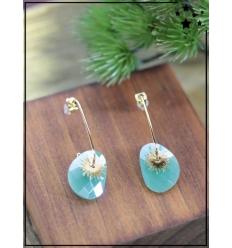 Boucles d'oreilles - Soleil et pierre turquoise - Doré