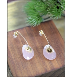 Boucles d'oreilles - Soleil et pierre rose - Doré