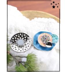 Broche aimantée - Cercle martelé - Arbre de vie - Bleu
