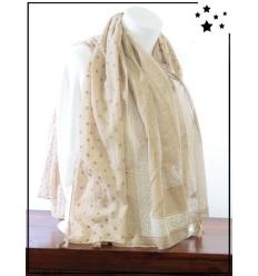 Foulard - Détails dorés - L'Or de Bombay - Taupe