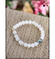 Bracelet - Perles - Détail argenté - Blanc