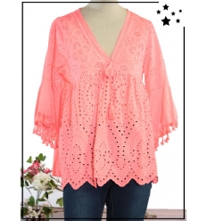 TU max 44 - 100% coton - Rose fluo - Haut - Broderie anglaise